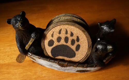 Lodge Cabin Coaster Set BLACK BEAR PAPA CUBS CANOEING BIRCH CANOE Home Decor NEW