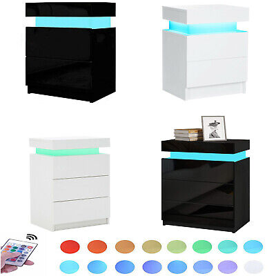 Details about  Bedside Table RGB 16Colours LED Nightstand 2/3 Drawers Side Table Storage OZ