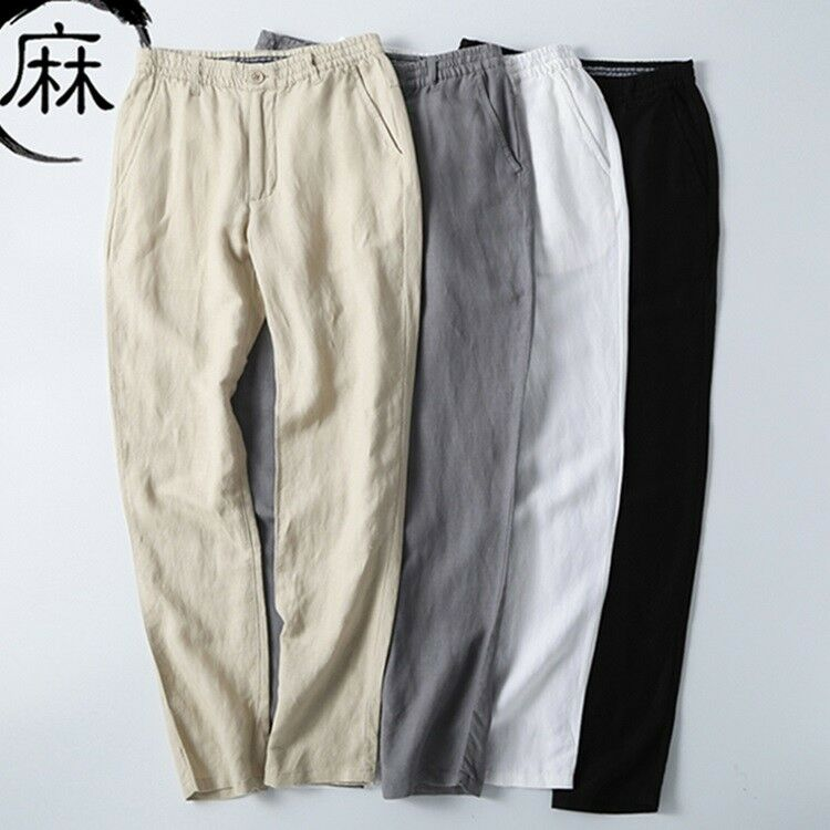 Men Summer Casual Loose Elastic Waist Thin Cotton Linen Pants Trousers Plus Size
