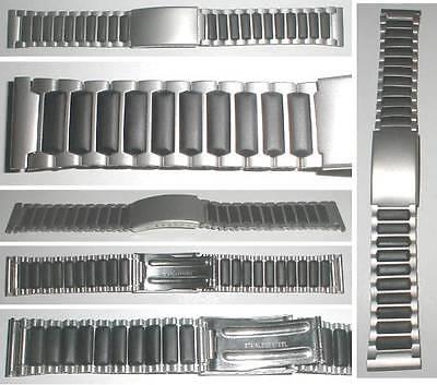 MATERIALMIX UHRENARMBAND GUMMI / STAHLBAND TYP SPORT II SANDGESTRAHLT 18mm, 20mm