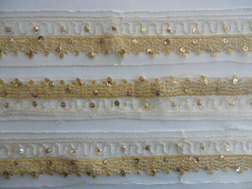 Spitze Nichtelastisch breit Weiß Gold 4,5cm Borte Elegante 1124 NC