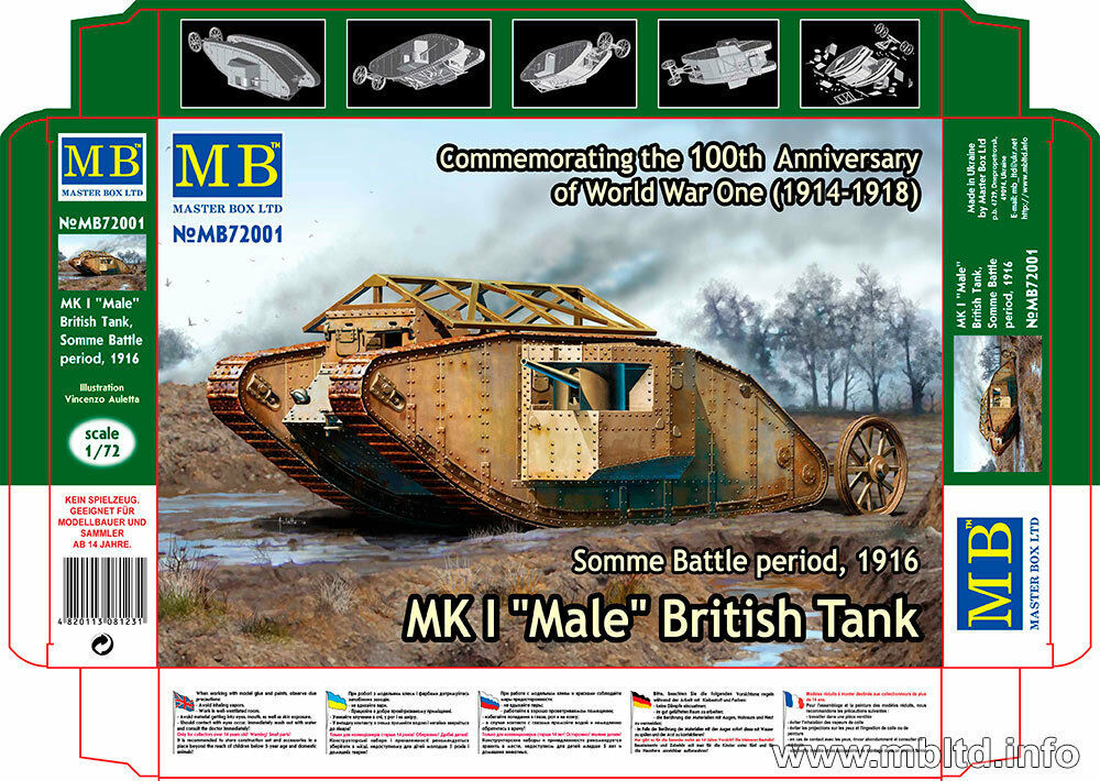 Masterbox Bausatz 1:72-72001 #E Mk.I britischer Panzer 1916 Male