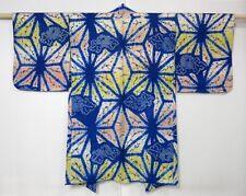 3915M01z340 Vintage Japanese Kimono Silk SHIBORI HAORI Blue Hemp