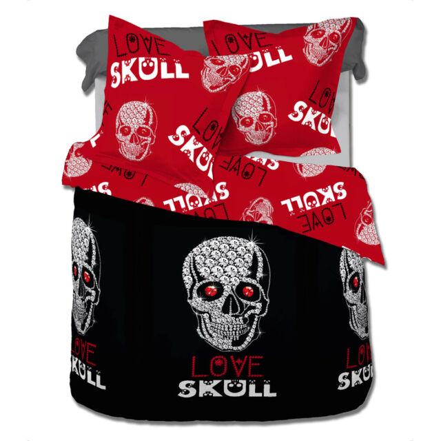Love Skull - SoulBedroom 100% Cotton Bed Linen Set (Duvet Cover & Pillow Cases)