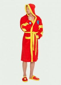 Mens-Marvel-Ironman-Avengers-Superhero-Fleece-Dressing-Night-Gown-Bath-Robe-Hood