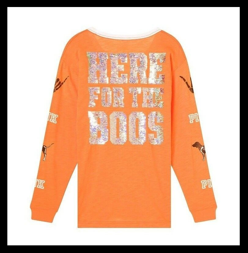 BLING Victoria Secret Pink SKELETON HALLOWEEN HERE HERE HERE FOR THE BOOS LACE UP TEE XS S d3d8a8
