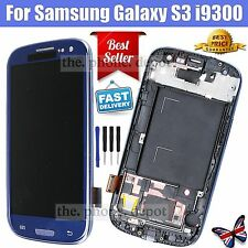 LCD Touch Screen Digitizer Display Frame For Samsung Galaxy S3 i9300 +Tool Blue