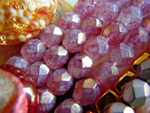 25stk. Étincelante Strang ROSE BRILLANT Stone Picasso-Taille perles 6mm