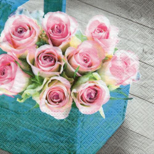 1425 4 Serviettes Motif Serviettes DES NAPPES SERVIETTES technique fleurs rose roses