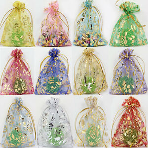 100Pcs Sheer Organza Wedding Party Favor Gift Bag Candy Bag Pouch Decor 18X13CM