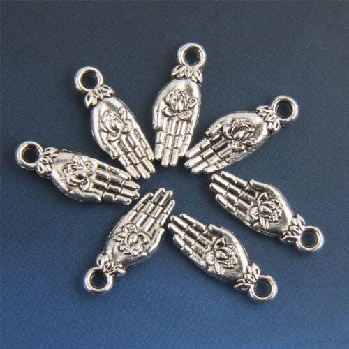 Wholesale 30//90//300Pcs Tibetan silver Hands Charms//Pendants 18mm 1A1940