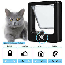 Brown 4 Way Magnetic Lock Lockable 12 lbs Dog CAT Kitty Small Flap Door ABS #W