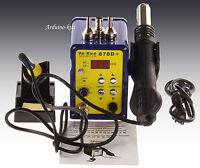 Ya Xun 878D+ 220V SMD Digital Hot Air Rework Station+ Soldering Station Uk Plug
