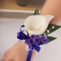 Wrist Corsage Boutonniere-prom,wedding Bridal Silk Flower Ivory Calla Lily Pearl