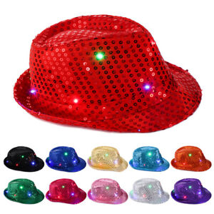 Flashing-Light-Up-Led-Fedora-Trilby-Sequin-Unisex-Fancy-Dress-Dance-Party-Hat