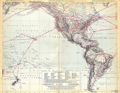 Big Size Map Card Atlas 1950: Airway Aviation North and South America | eBay