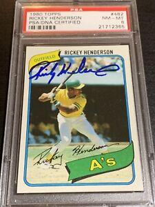 1980 topps rickey henderson psa 8 Autograph Auto Rc Dna Signed HOF Athletics