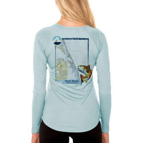 Fish Charts Outer Banks Women/'s UPF 50 Long Sleeve T-shirt