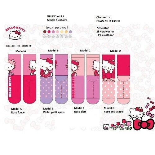 31/34 Model C (rose clair) - paire de Chaussette HELLO KITTY - NEUF l'unité