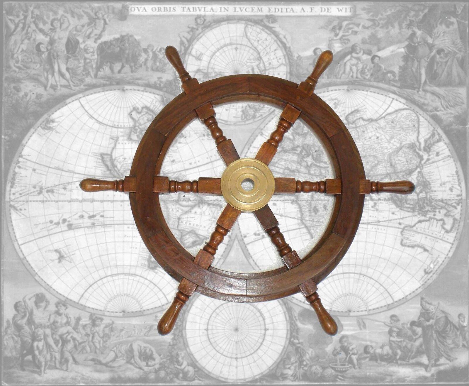 Hochwertiges Steuerrad, Schiffssteuerrad aus Hartholz, Durchmesser 62cm Durchmesser Hartholz, 3b13fb