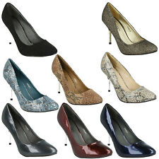 SALE LADIES SPOT ON SLIP ON HIGH HEEL SMART EVENING CASUAL COURT SHOES F9563
