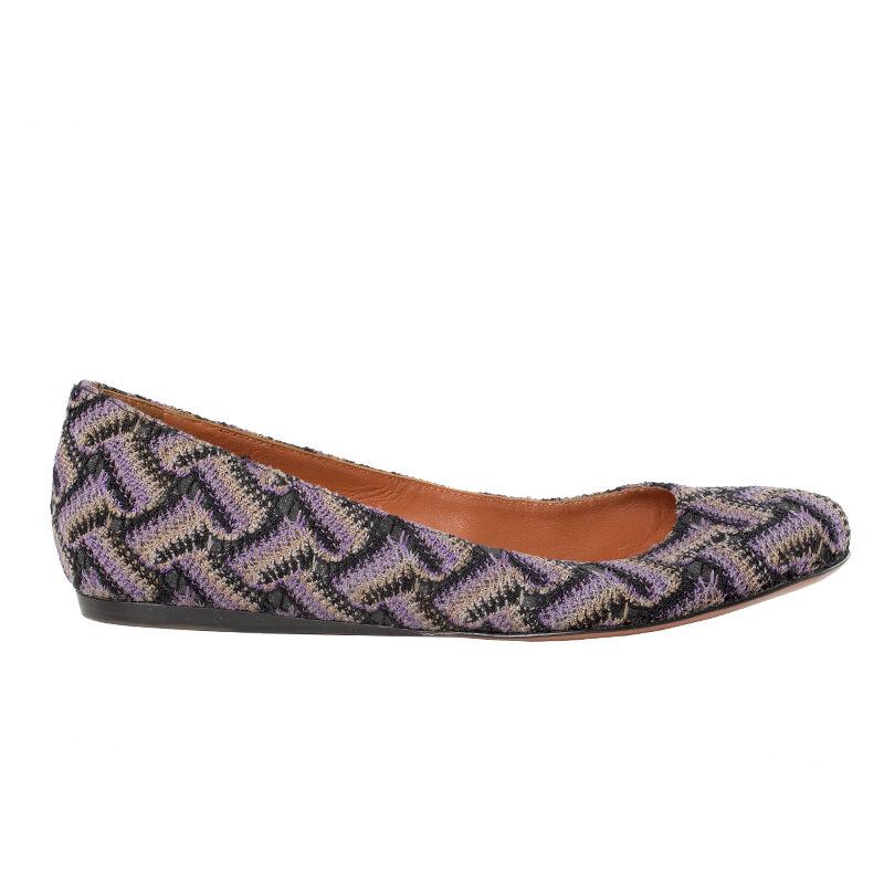 41408 auth MISSONI purple & grey fabric Ballet Flats Shoes 36.5