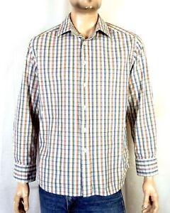 euc-Robert-Graham-RG-Blue-Orange-Cream-Plaid-Button-Down-Dress-Shirt-sz-L