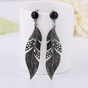 Vintage-Women-Fashion-Black-Long-Leaf-Drop-Stud-Dangle-Earrings-Silver-Jewelry