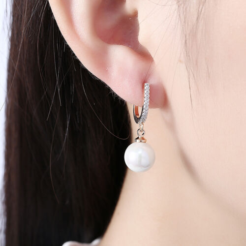 AAA 12-10 mm South Sea Blanc Perle Baroque Boucles D/'Oreilles 14K Or Jaune