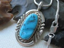 Vintage Old Pawn Turquoise and Sterling Pendant on Sterling Silver Necklace