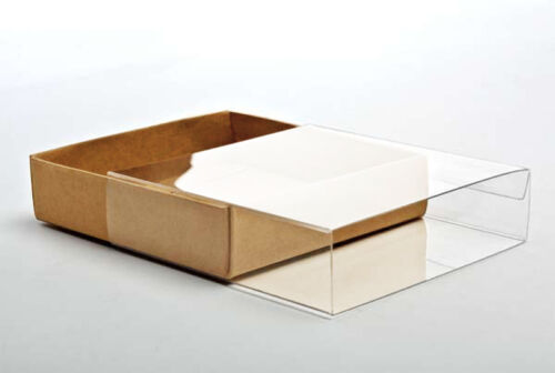 """5 Flat Kraft Paper Box Bases Clear Sleeves; 4 1//2/""""x 1/"""" x 6/"""" Boxes for Cards ETC"""