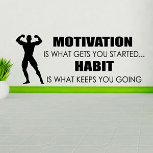 Motivation-est-What-Gets-You-Started-Autocollant-Mural-Sport-sticker-Decalque
