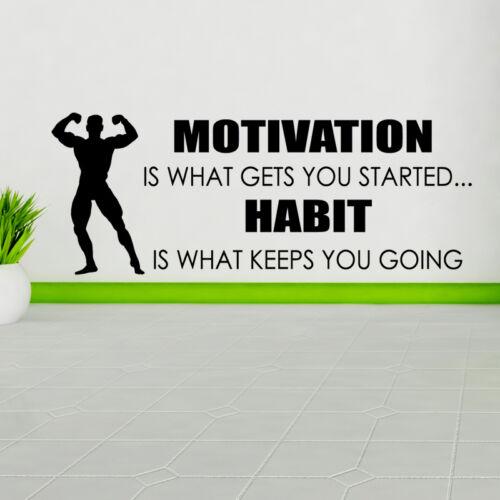Motivation est ce qui vous obtient commencé wall sticker citation autocollant Sport Gym w137