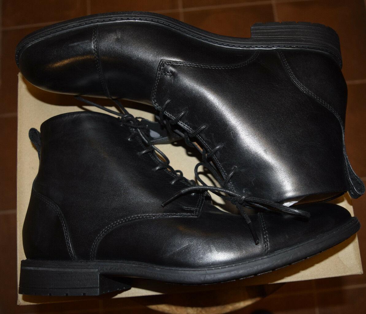 Hombres-Clarks-Truxton alta 26128736-Diseñador-Negro-Cuero - Zapatos-botas - 12-New-Box