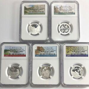 2019 S Silver Quarter Set FIRST .999 Fine Silver Quarters F.R NGC PF70 U.C.