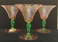 Set of 3 Vintage Steuben Watermelon Pink Green Martini Glasses Depression Glass