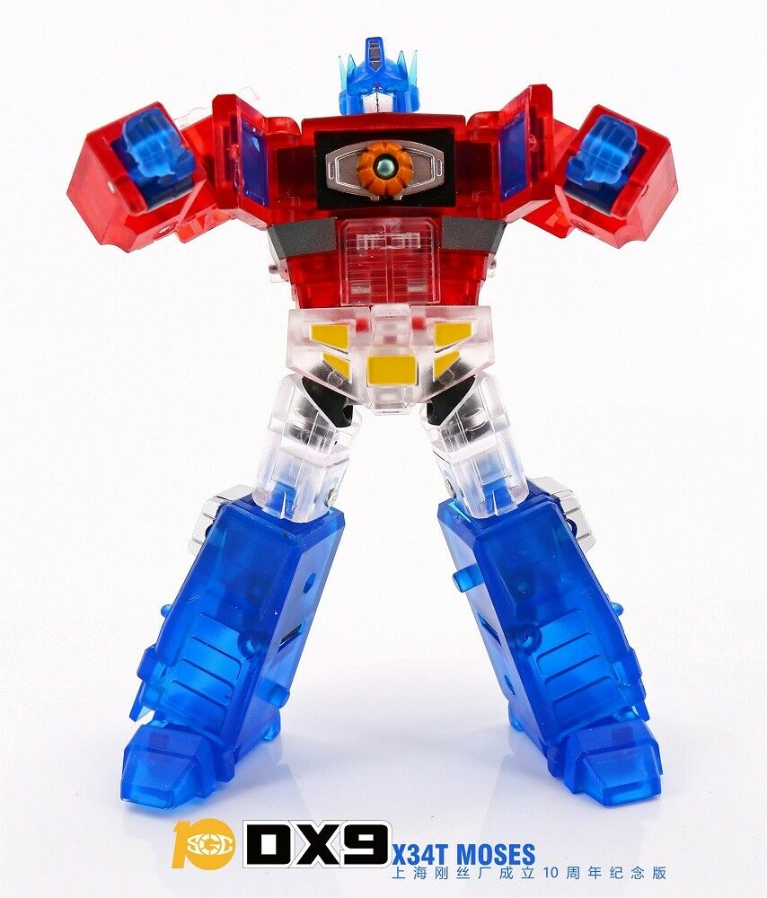 New DX9 X34T 10.6cm Moses Robot Clear Optimus Prime 10th Anniversary Limited
