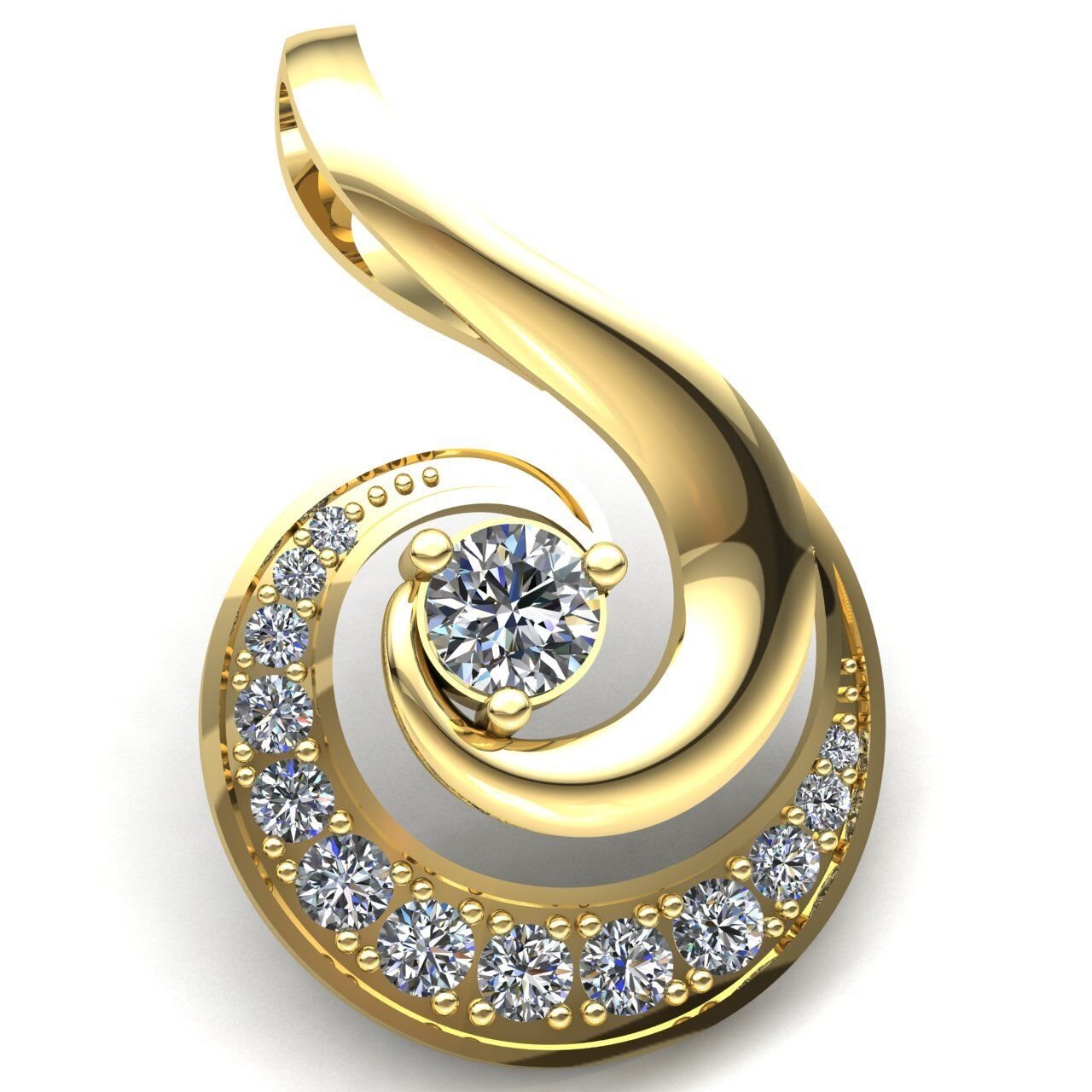 Natural 0.75ct Round Cut Diamond Ladies Swirl Accent Fancy Pendant 18K gold