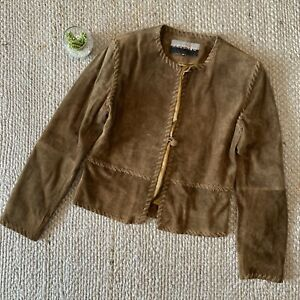 VTG-Saguaro-Brown-Leather-Braided-Jacket-Coat-Boho-Western-Womens-Size-XS