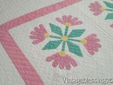 "Well Quilted! Cottage Sweet Vintage Applique Mexican Rose QUILT 79"" x 62"""