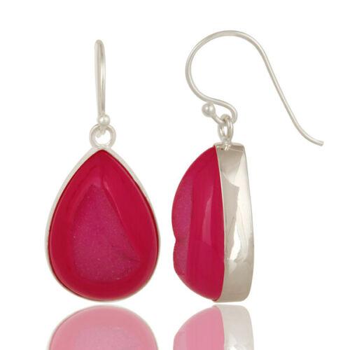 925 Sterling Silver Pink Druzy Agate Gemstone Bezel Set Dangle Earrings