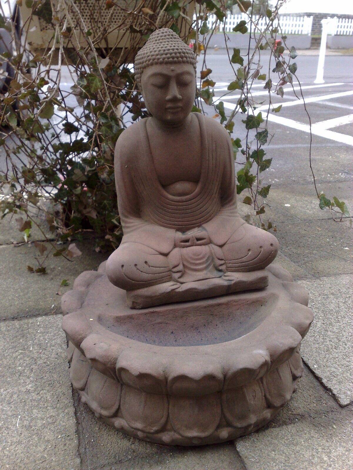 Skulptur Buddha Tempel Lotus Kissen Antik Look Sandstein Steinguß H 45 GRAU  | Moderne Muster