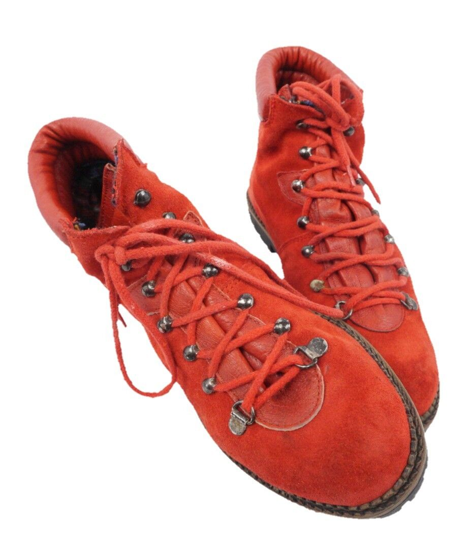 Buskens Red Lace Up Hiking Style Ankle Boots Women's Adult Size US 5.5