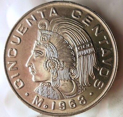 Great Coin 1966 MEXICO 50 CENTAVOS Mexico Bin #3 AU//UNC FREE SHIP