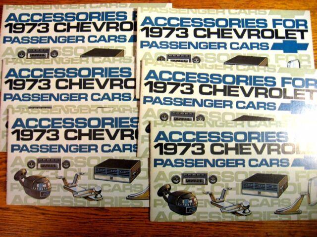 1973 Chevrolet Accessories Dealer Sales Brochure LOT (6) pcs, Psgr Cars, MINT