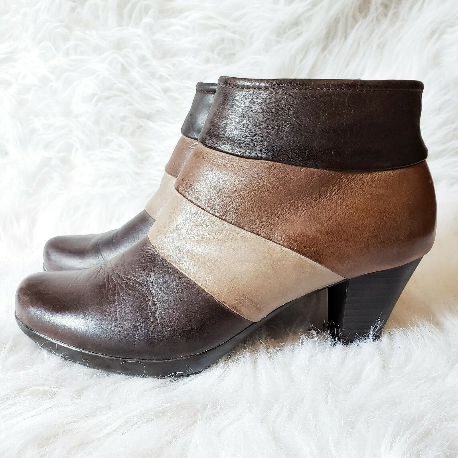 Spring Step Boots Sz 7 37 Generate Bootie Leather Heel Brown Beige