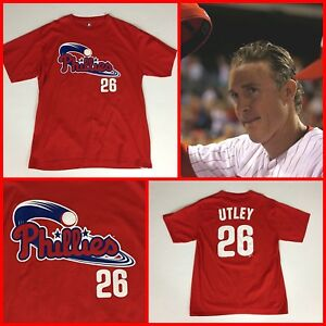 get cheap 3182d a727b Details about Men's CHASE UTLEY Philadelphia Phillies RED Jersey-Style #26  Tee-Shirt - Large