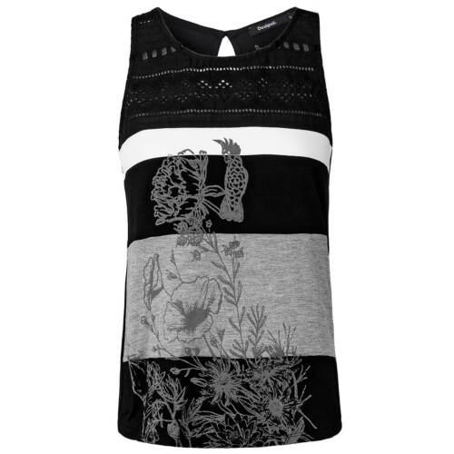 Desigual Damen Top Shirt Streifen gestreift Lochmuster floraler Blumen Print