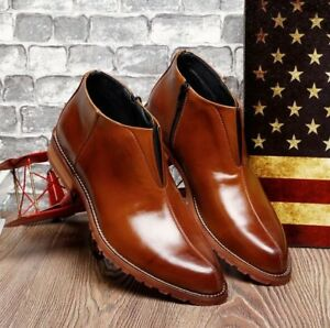 Men-039-s-Casual-Ankle-Boots-Dress-Leather-Shoes-Formal-Business-Vintage-Eur-Style