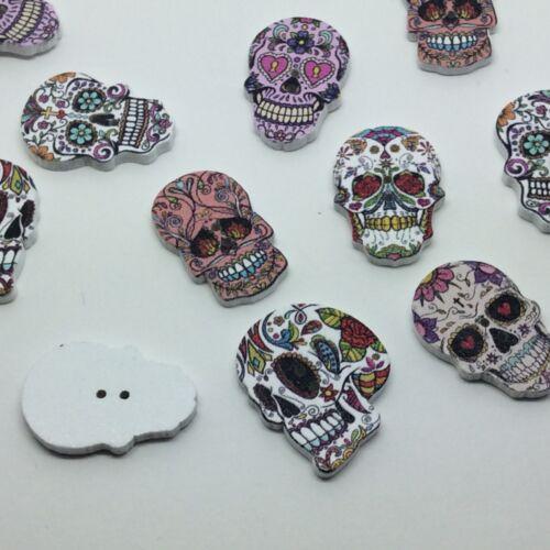 Sugar Skull Wooden Buttons 2 holes 25mm Mixed Colour x 10 pcs scrapbook cards